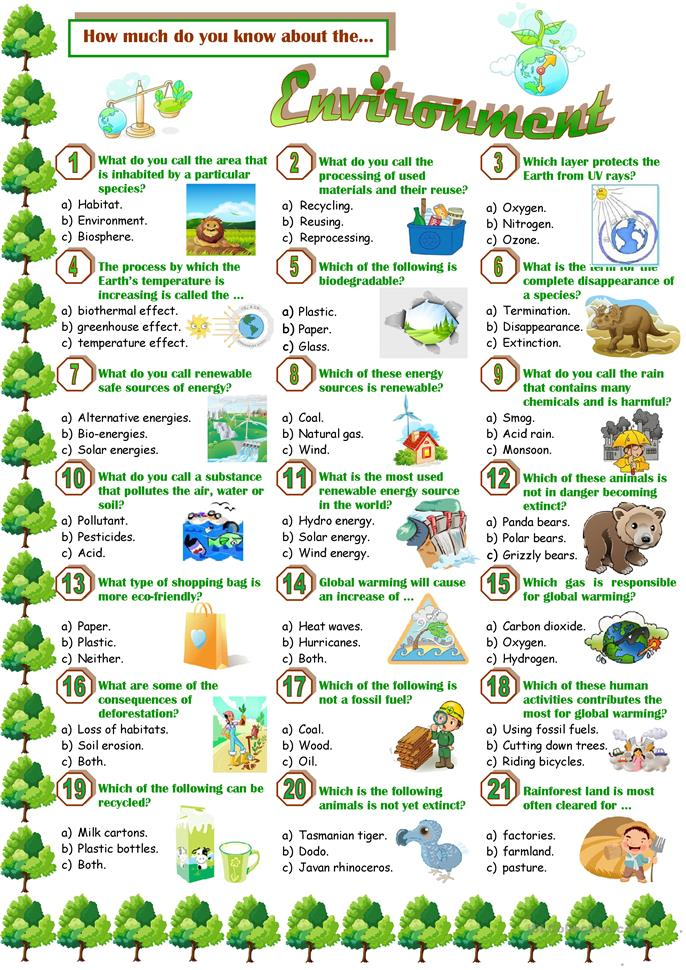 Environment-Quiz worksheet - Free ESL printable worksheets ...