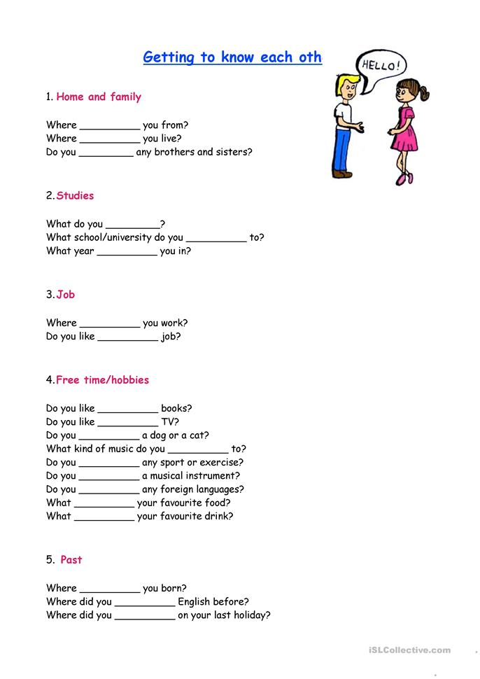 13 FREE ESL getting to know each other worksheets