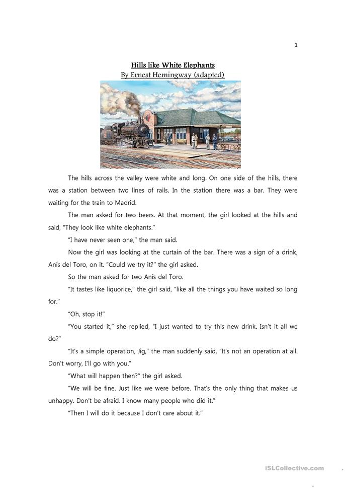 thesis statement story hills like white elephants Get an answer for 'what is a good thesis statement for ernest hemingway's short story hills like white elephants' and find homework help for other hills like white elephants questions at.