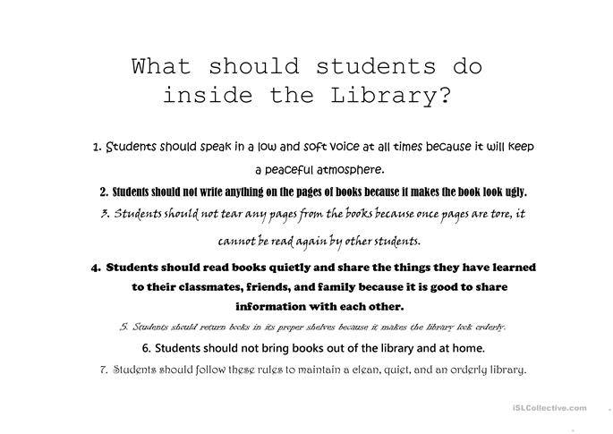 Library Rules worksheet Free ESL printable worksheets made by – Library Worksheets