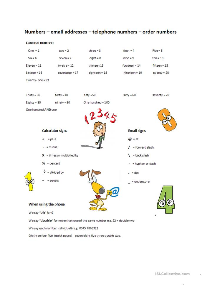 Numbers, email and tel... - ESL worksheets