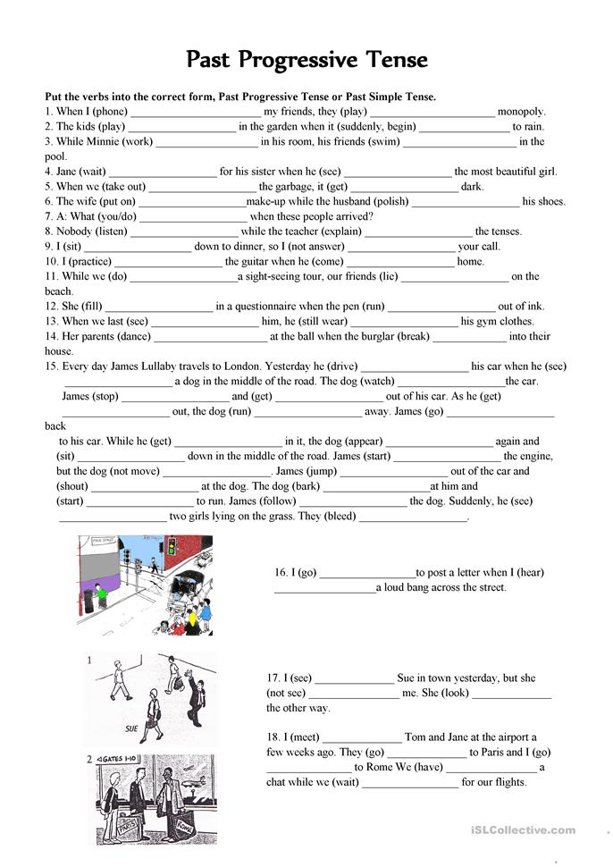 Past continuous VS. Past simple  tense - ESL worksheets