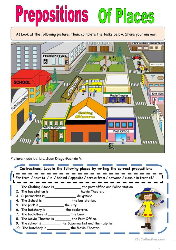Preposition of Places - ESL worksheets