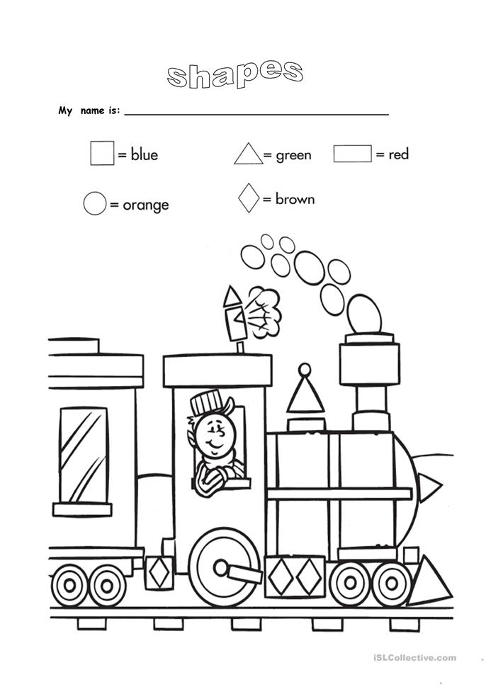 shapes and colours - ESL worksheets