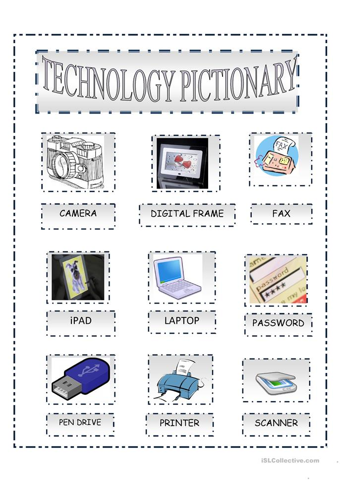 Technology Pictionary Worksheet Free Esl Printable