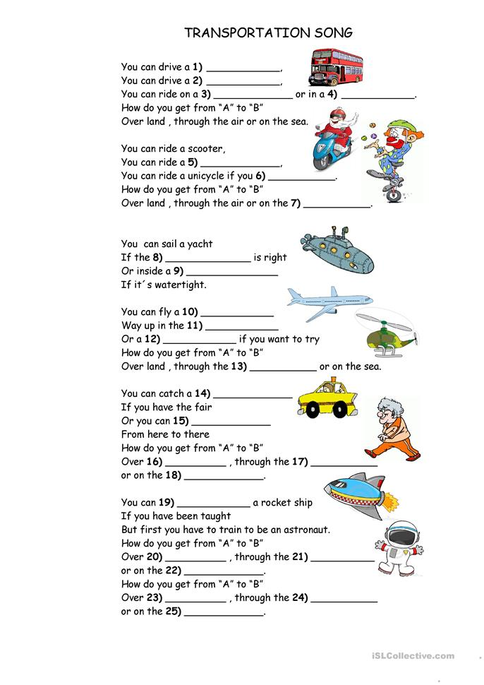Printables Transportation Worksheets 75 free esl transportation worksheets song