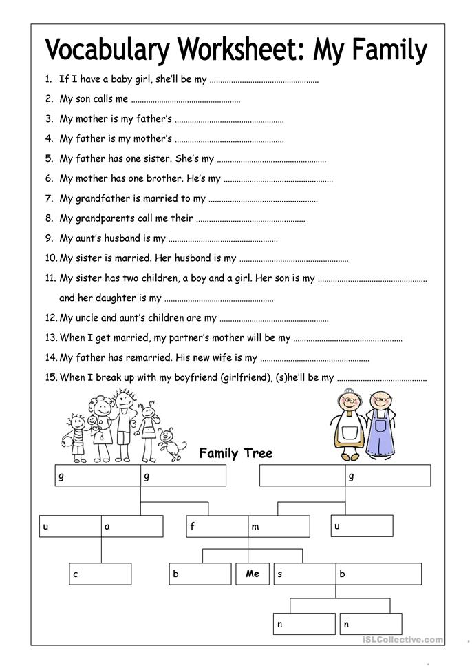 Worksheet Cloze Worksheets 107 free esl cloze worksheets vocabulary worksheet my family medium