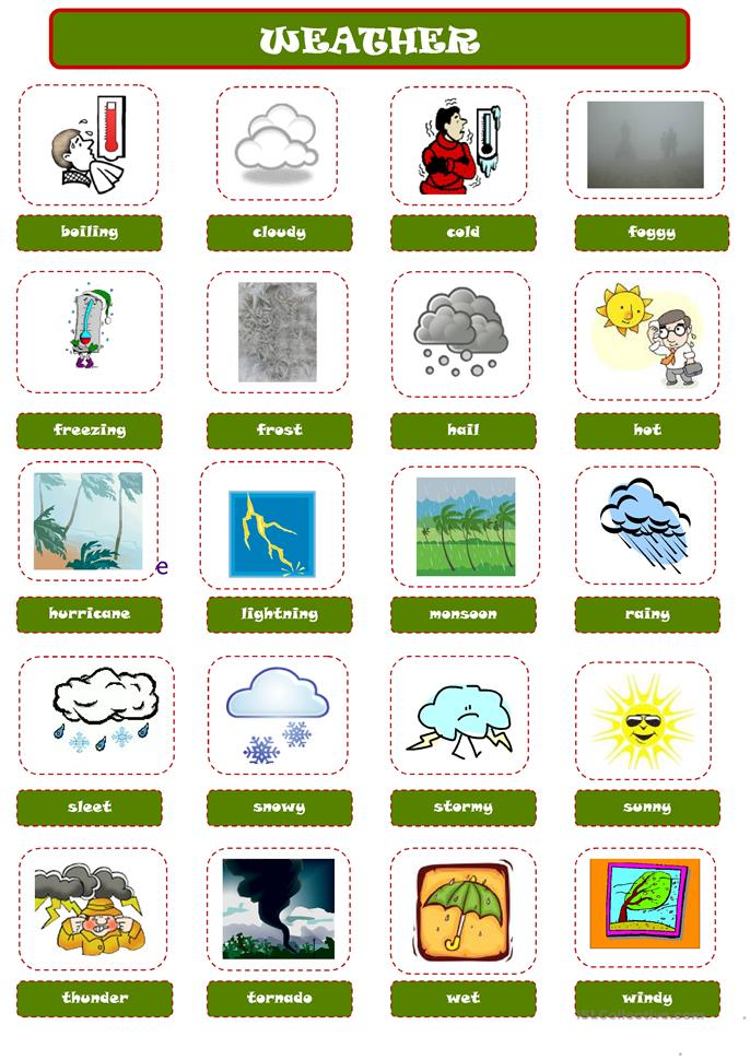 WEATHER pictionary - ESL worksheets