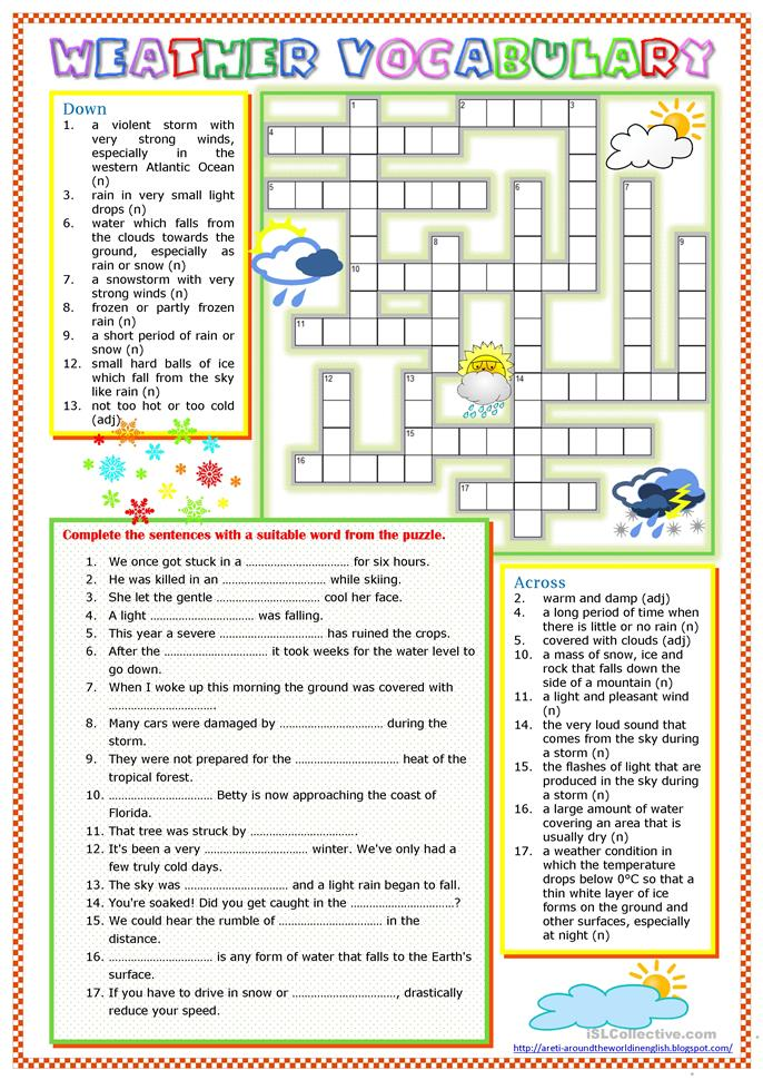 Weather Vocabulary - ESL worksheets