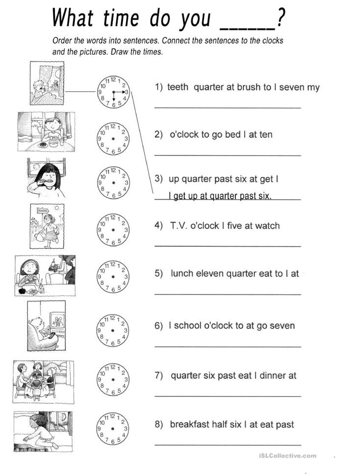What time do you.....? - ESL worksheets