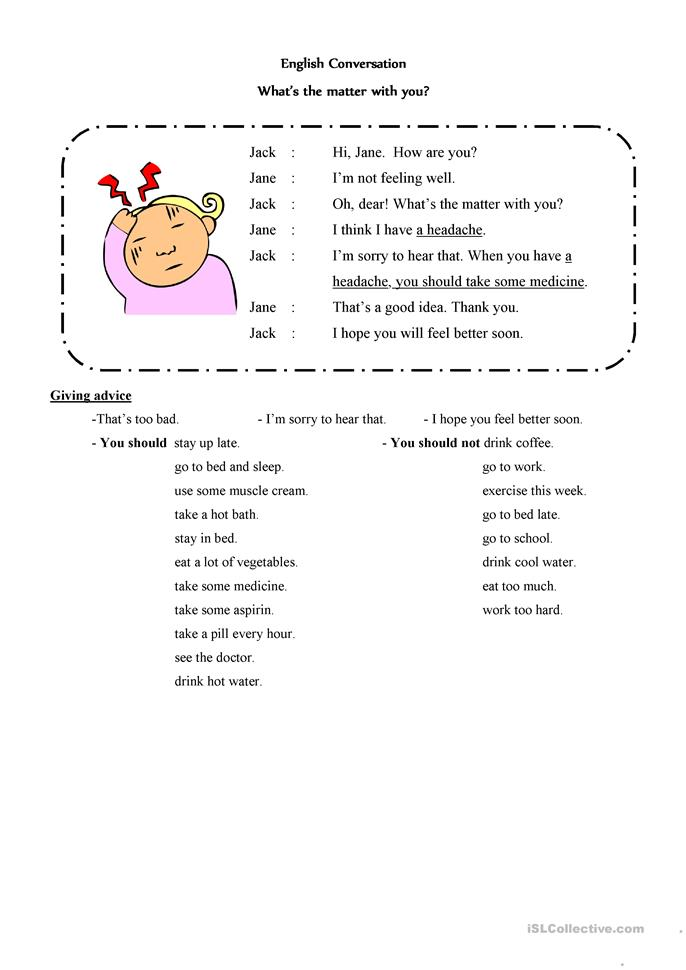 What's the matter with... - ESL worksheets