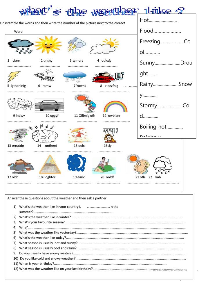 What s the weather like worksheet free esl printable worksheets made