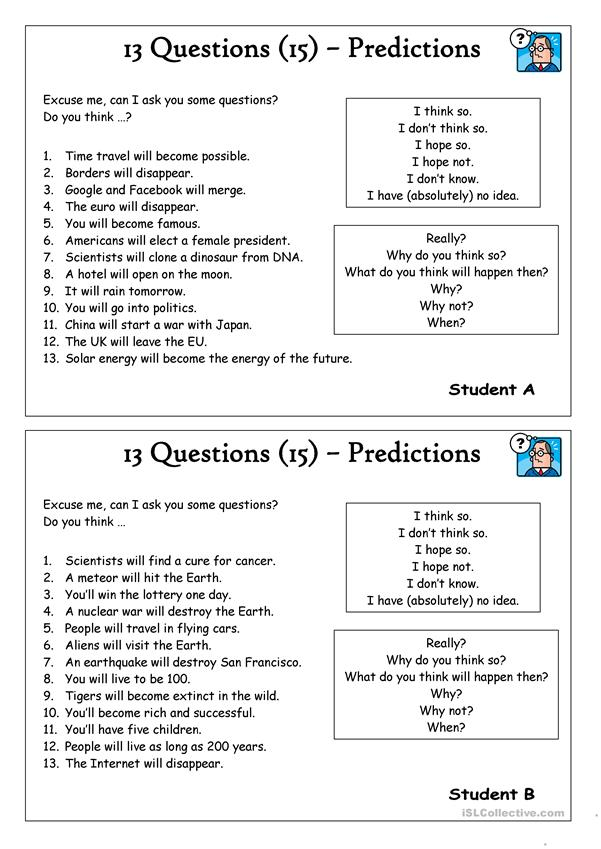 13 Questions 15 Predictions Worksheet Free Esl