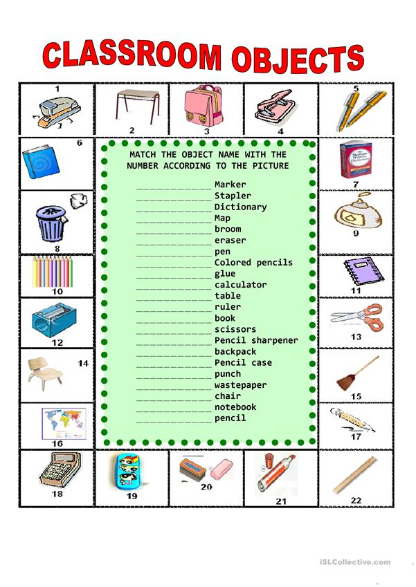 classroom objects worksheet free esl printable worksheets made by teachers. Black Bedroom Furniture Sets. Home Design Ideas