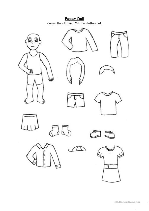 Paper Doll Clothing For 2nd Graders And Up English Esl Worksheets For Distance Learning And Physical Classrooms