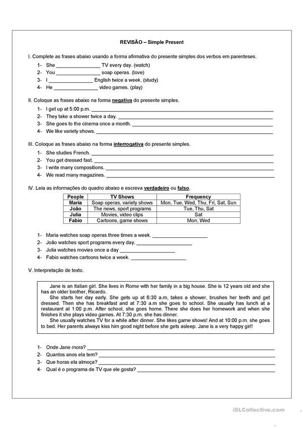 Revisão Simple Present Worksheet Free Esl Printable Worksheets