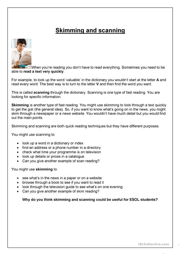 how to make a letter skimming and scanning helpsheet worksheet free esl 22324 | skimming and scanning helpsheet fun activities games 22324 1