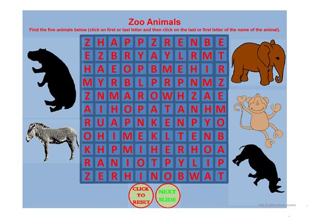 ZOO ANIMAL WORD SEARCH PART 1 Worksheet