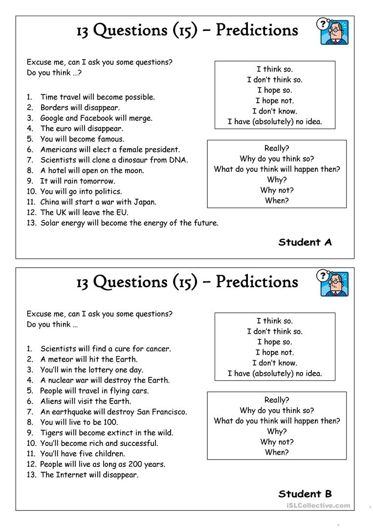 Worksheets Prediction Worksheets 13 questions 15 predictions worksheet free esl printable predictions