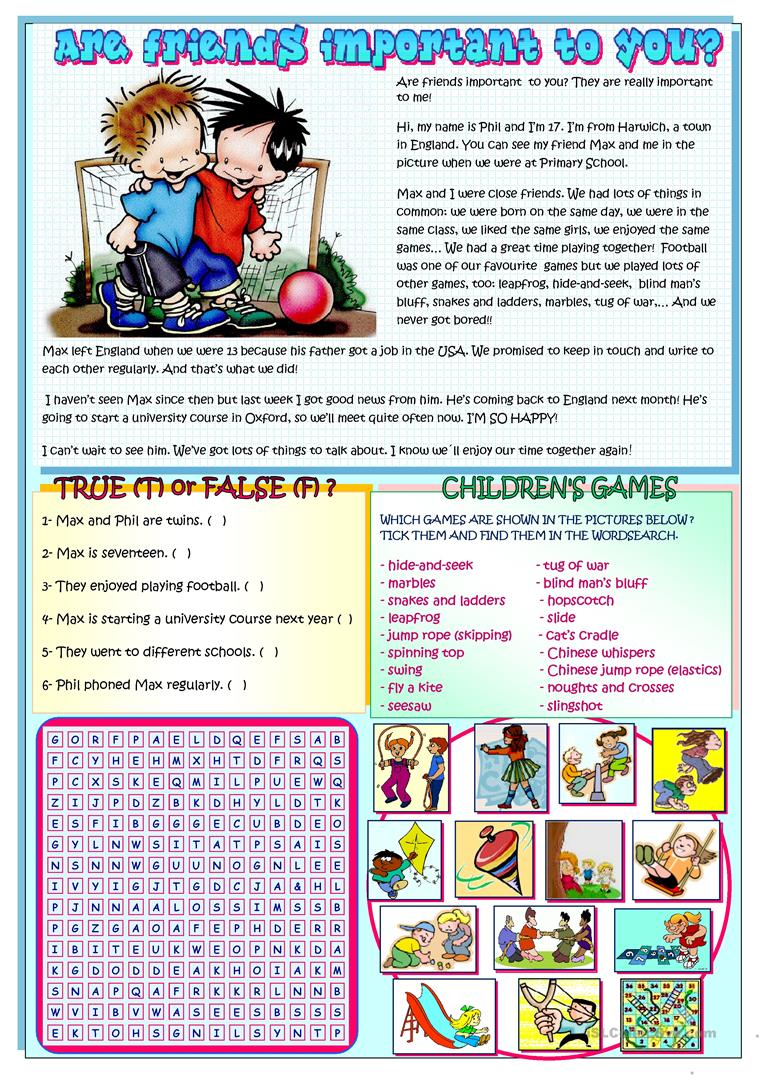 Are friends important to you reading childrens games worksheet full screen ibookread Download