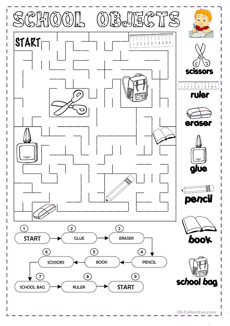 Clroom Objects Coloring Worksheets