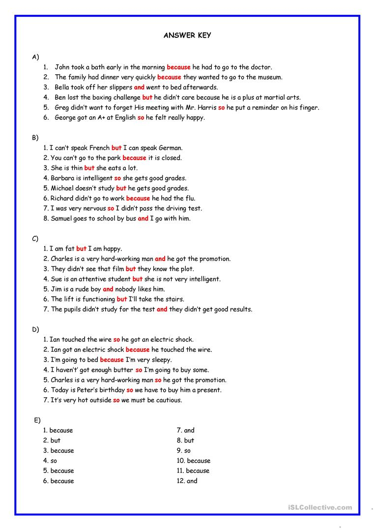 Workbooks worksheets on conjunctions for grade 8 : Connectors: and, but, because, so worksheet - Free ESL printable ...