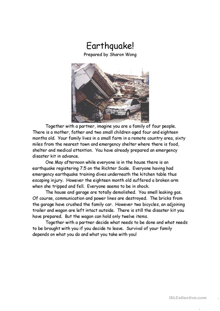 14 free esl earthquake worksheets earthquake survival situation robcynllc Choice Image