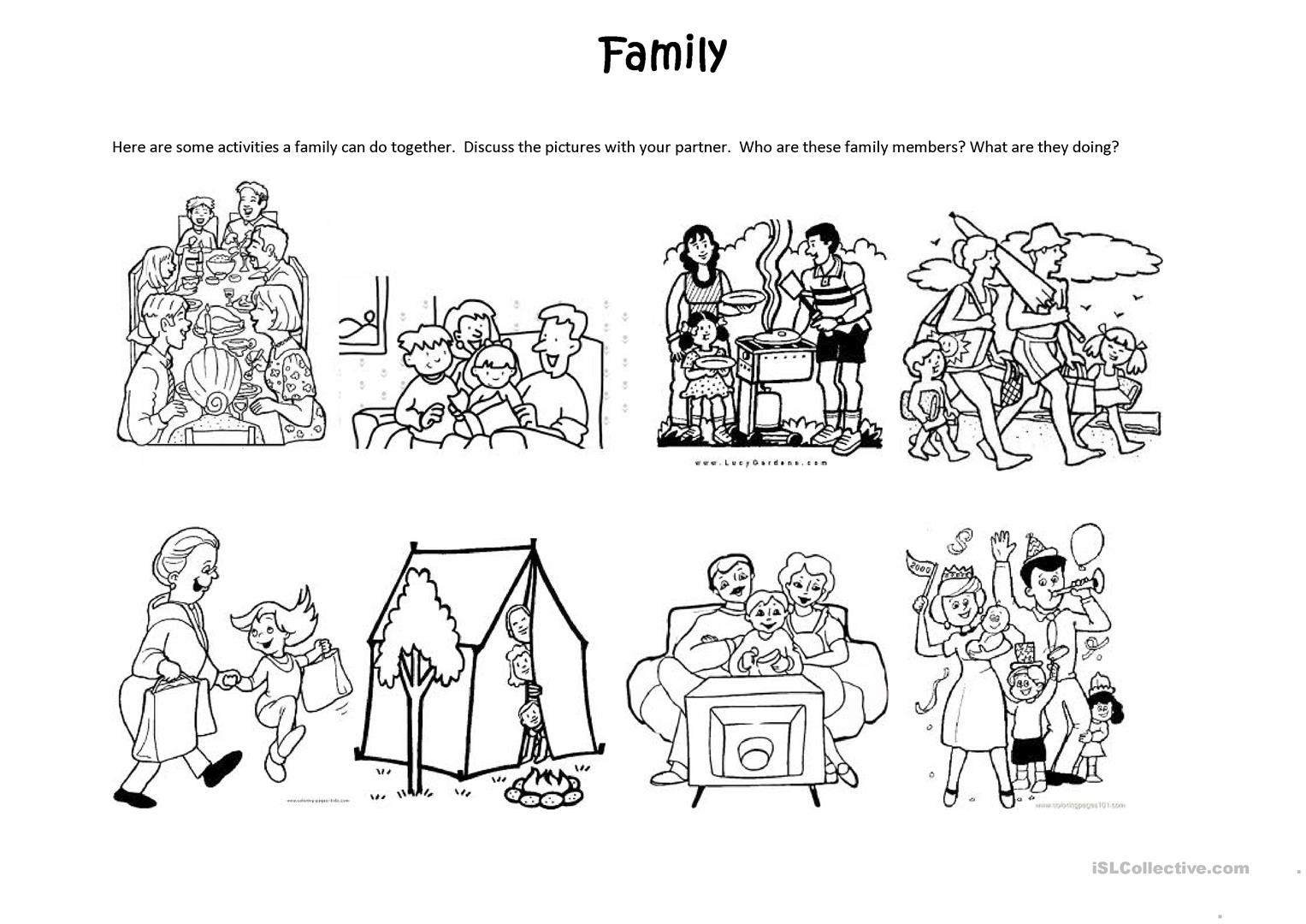 Family Activities - English ESL Worksheets