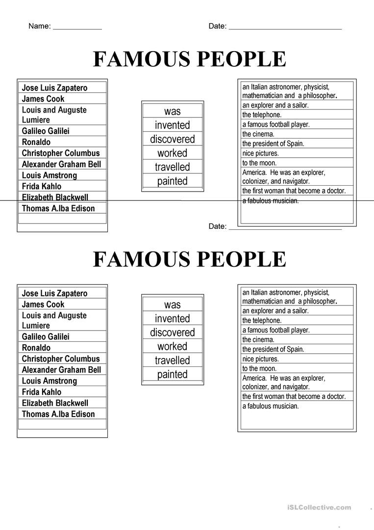 famous people worksheet - Free ESL printable worksheets made
