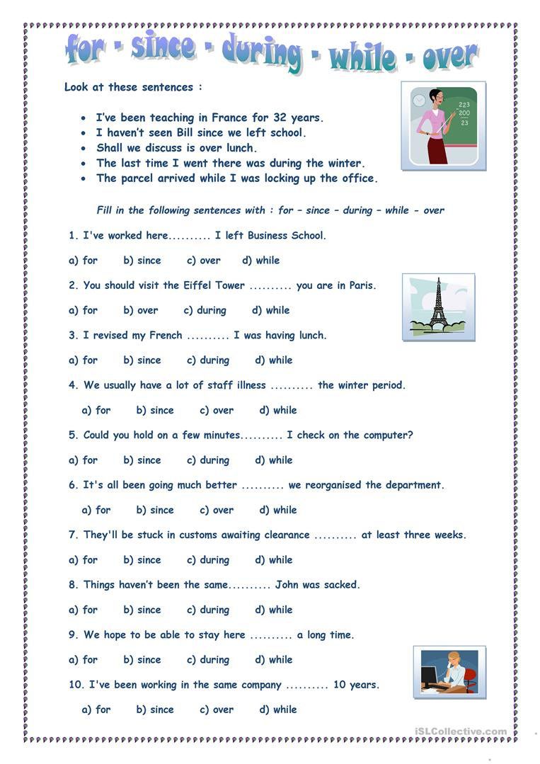 who what when where why worksheets for since during while worksheet free esl printable 772