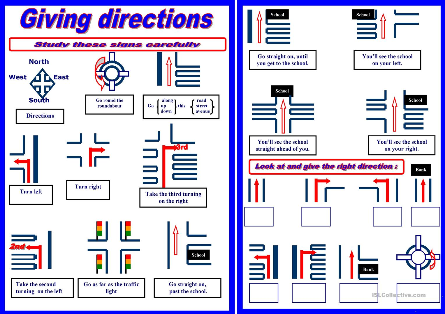 giving directions Asking for and giving directions page 1 of 2 bbclearningenglishcom for each question choose the one correct answer 1: if you go up to the fifth floor, you'll find his office ____ your right as you come out the elevator a: on b: in c: by.