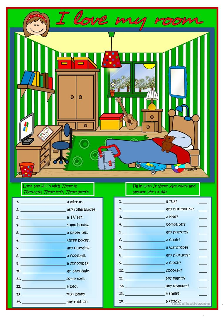 i love my room there is there are worksheet free esl printable