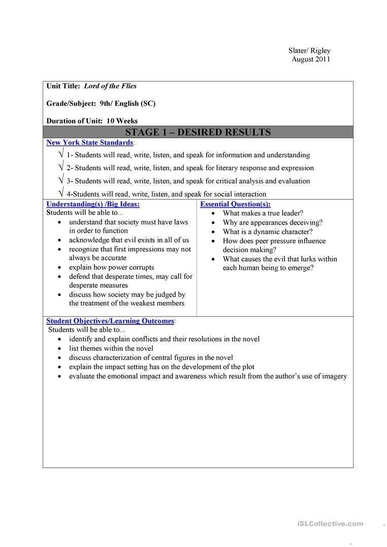 Worksheets Lord Of The Flies Worksheets lord of the flies unit worksheet free esl printable worksheets full screen