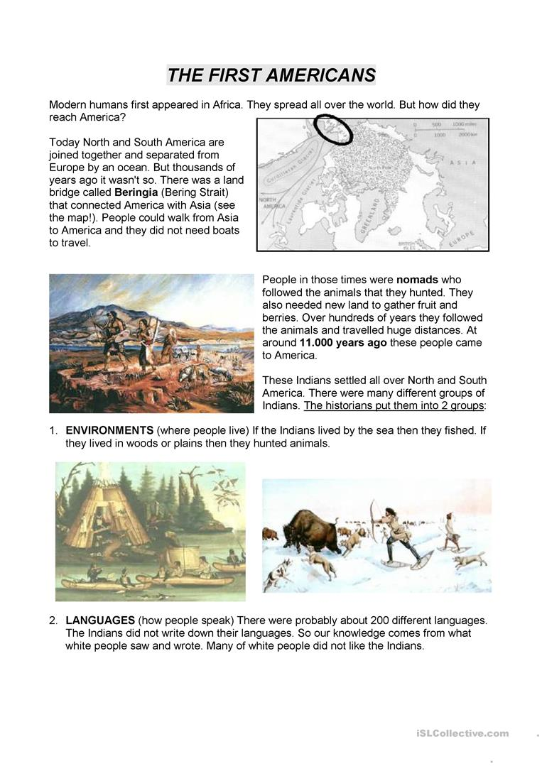 Native Americans working stations - English ESL Worksheets