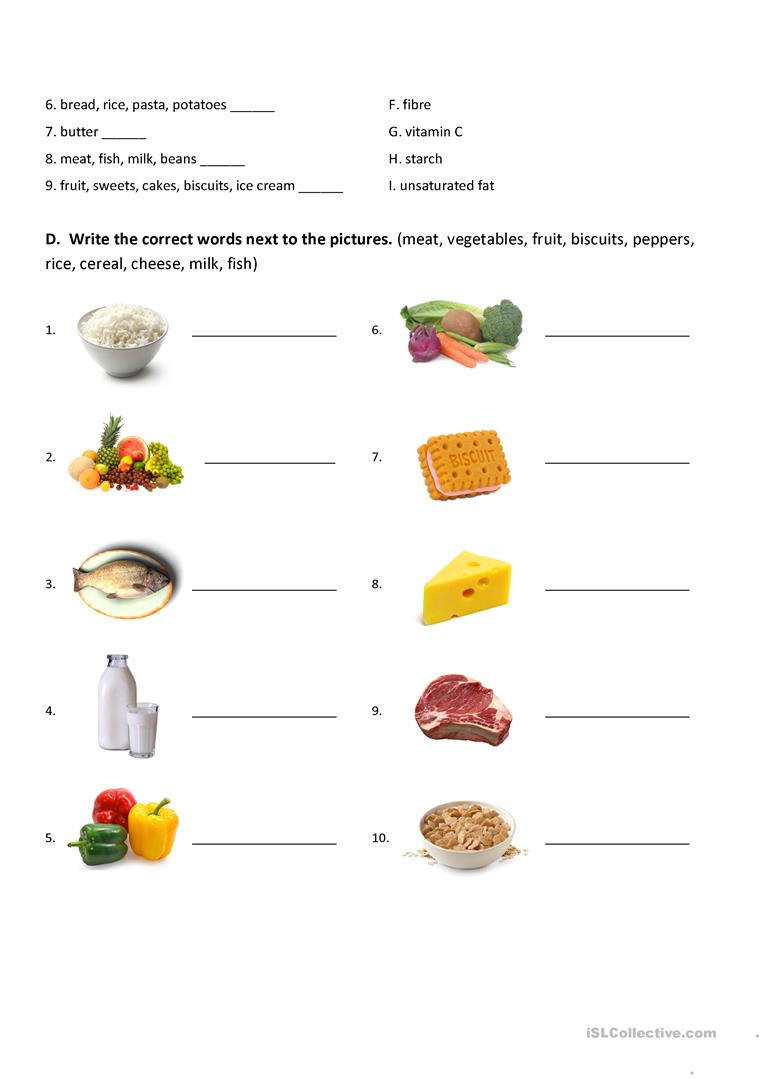 Nutrition (Nutrients) Mind Map and exercises worksheet ...