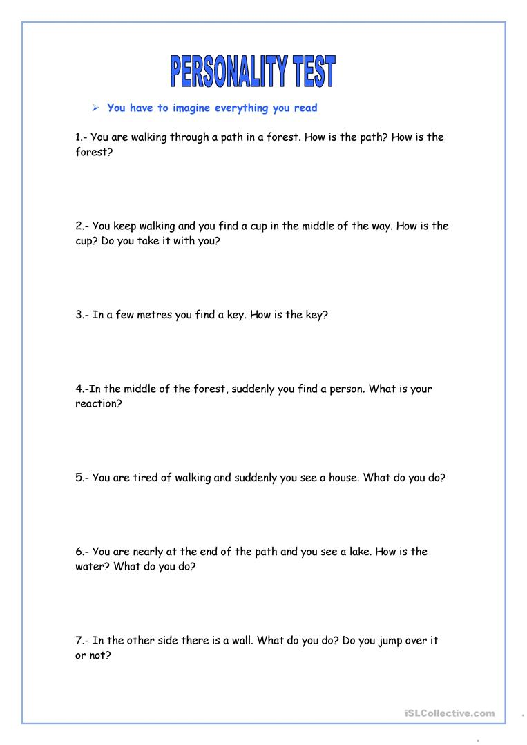 graphic about Personality Tests Printable called Persona Try - English ESL Worksheets