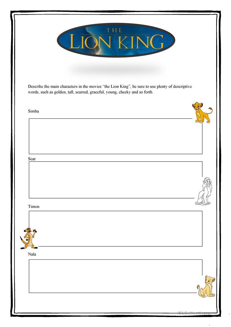 9 FREE ESL the lion king worksheets – The Lion the Witch and the Wardrobe Worksheets