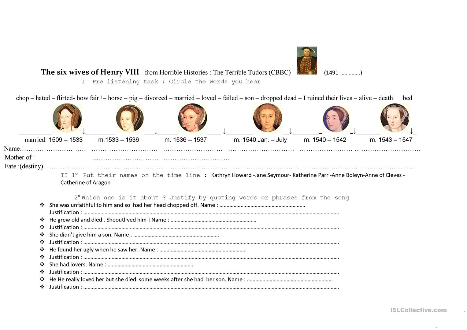 The Six Wives Of Henry Viii In Horrible Histories English Esl Worksheets For Distance Learning And Physical Classrooms