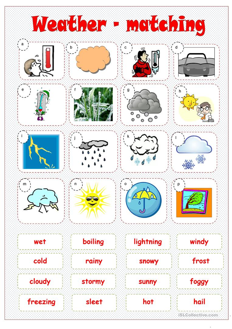 weather matching worksheet free esl printable worksheets made by teachers. Black Bedroom Furniture Sets. Home Design Ideas