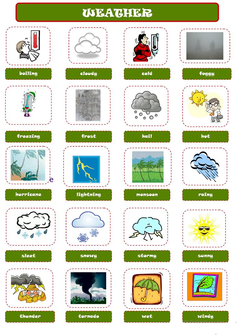 131 FREE ESL weather worksheets for adults – Weather Worksheets