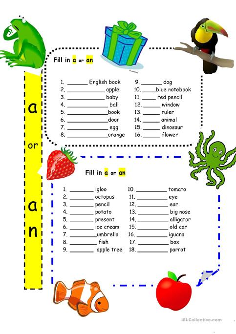 Articles \'a\' and \'an\' for Beginners worksheet - Free ESL printable ...