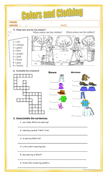 colors and clothing - Colors Printable Worksheets