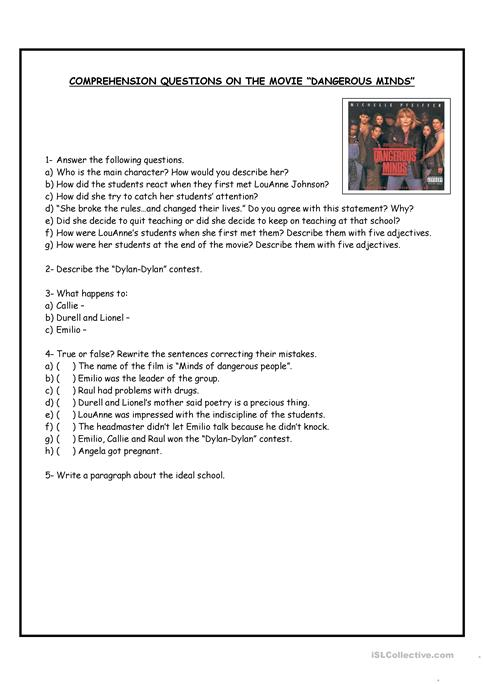 Comprehension questions on the movie Dangerous minds worksheet ...