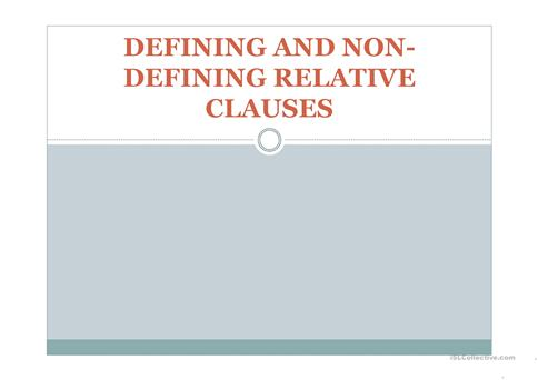 Defining and non defining relative clauses worksheet - Free ESL ...