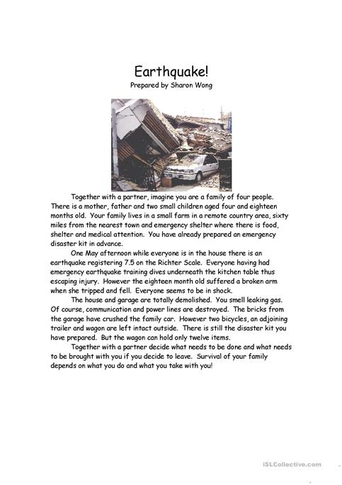 Earthquake Survival Situation worksheet - Free ESL printable ...