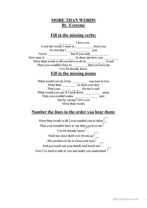 MORE Than WORS AND ROLLING IN THE DEEP worksheet - Free ESL ...