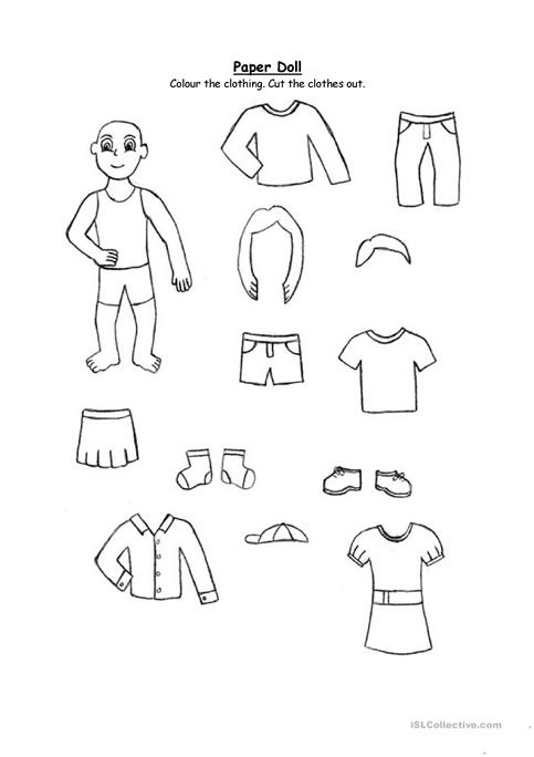 paper doll clothing for 2nd graders and up worksheet free esl