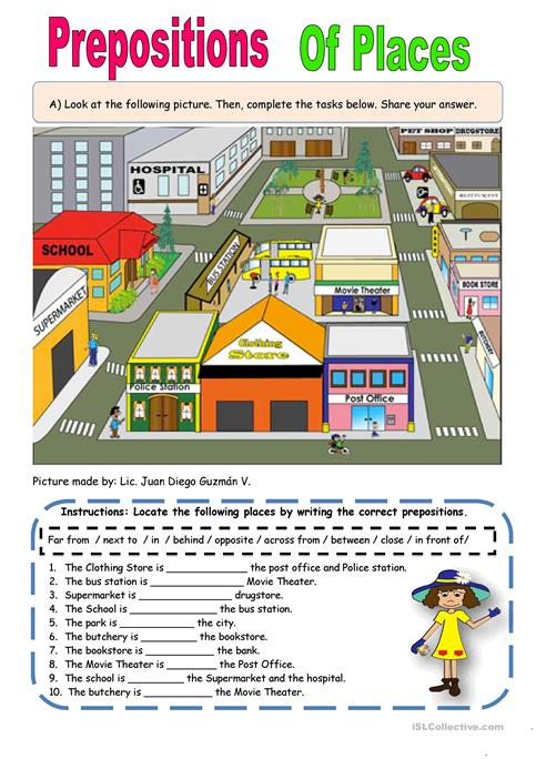 Preposition Of Places Worksheet