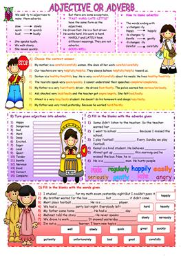 93 Free Esl Adjective Adverb Worksheets