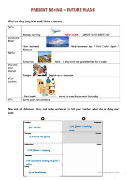 54 free esl diary worksheets for Future planner online